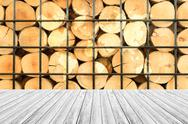 Wood texture surface with Wood terrace and world map Stock Photos
