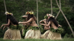 Barefoot Tahitian males in warrior dress with females in hula skirts and flower Stock Footage