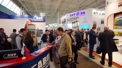 Eople attend V Anniversary International Railway Show Engineering and Technology Stock Footage
