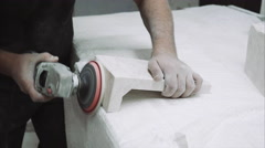 Worker polishing marble stone , close up Stock Footage