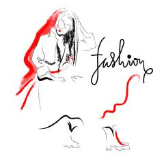 Fashion sketch drawing girl Stock Illustration