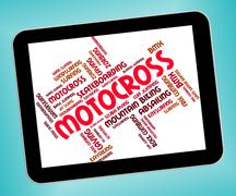 Motocross Words Represents Bike Enduro And Motorbikes Stock Illustration