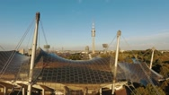 Aerial shot of the Olympic Stadium in Munich Stock Footage