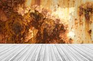 Metal rust wall texture surface with Wood terrace and world map Stock Photos