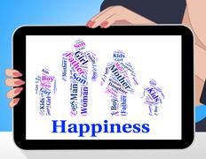 Happiness Family Shows Blood Relative And Cheer Stock Illustration