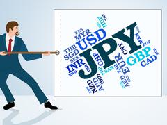 Jpy Currency Means Worldwide Trading And Coinage Stock Illustration