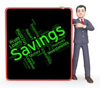Savings Word Means Financial Wealthy And Text Stock Illustration