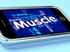 Muscle Words Represents Weight Lifting And Dumbbell Stock Illustration