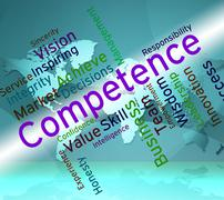 Competence Words Represents Expertise Mastery And Capacity Stock Illustration