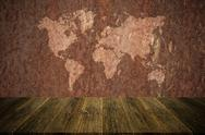 Metal rust wall texture surface vintage style with Wood terrace and world map Stock Photos