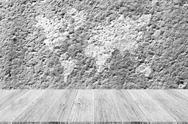 Wall texture surface with Wood terrace and world map Stock Photos