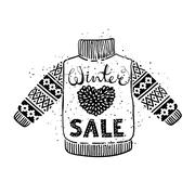 Winter Special banner or label with knitted woolen pullover. Business seasonal Stock Illustration