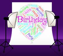 Birthday Balloons Means Congratulation Party And Words Stock Illustration