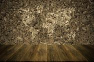 Wall texture surface vintage style with Wood terrace and world map Stock Photos