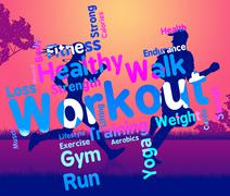 Workout Words Shows Get Fit And Exercising Stock Illustration
