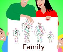 Family Word Means Mother And Child And Childhood Stock Illustration