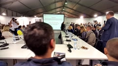 Audience at conference at V Anniversary International Railway Show Stock Footage