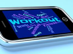 Workout Words Shows Physical Activity And Fit Stock Illustration