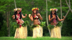Young graceful female group of Tahitian hula dancers performing outdoor barefoot Stock Footage