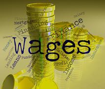 Wages Word Shows Earn Income And Salary Stock Illustration