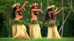 Barefoot Tahitian females in hula skirts and flower headdress performing  Stock Footage