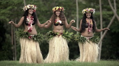 Young Polynesian female group of Tahitian hula dancers performing outdoor Stock Footage