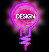 Design Lightbulb Representing Layout Plan And Develop Stock Illustration