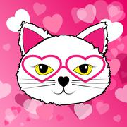 Cat With Hearts Representing Valentines Day And Kitten Stock Illustration
