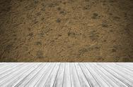 Sand texture surface vintage style with Wood terrace Stock Photos