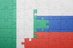 Puzzle with the national flag of russia and nigeria Kuvituskuvat