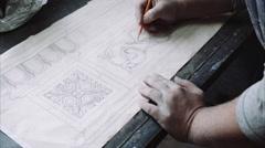 Engineer designer drawing blueprint Stock Footage