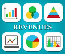 Revenues Charts Indicating Earns Earn And Statistics Stock Illustration