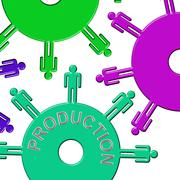 Production Cogs Showing Collaboration Teamwork And Clockwork Stock Illustration