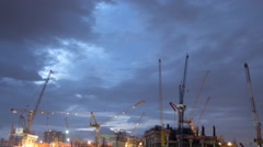4K : Day to night , construction site, time lapse Stock Footage