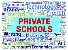 Private Schools Indicating Non Government And Studying Stock Illustration