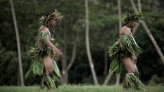 Polynesian Tahitian males performing war dance style hula dance outdoors Stock Footage