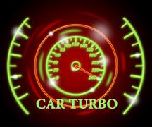 Car Turbo Indicating High Speed And Indicator Stock Illustration