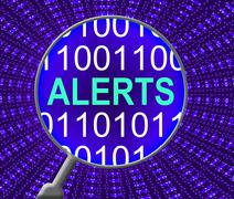 Internet Alerts Meaning Web Site And Alerted Stock Illustration