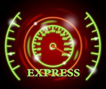 Express Gauge Showing Speed Dial And Dashboard Stock Illustration