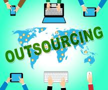 Outsourcing Online Showing Outsourced Website And Network Stock Illustration