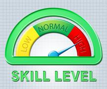 High Skill Level Representing Excess Skills And Meter Stock Illustration