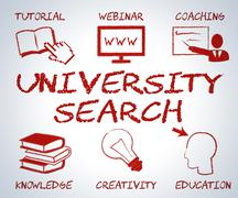 University Search Representing Educational Establishment And Educate Stock Illustration