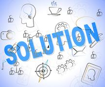 Solution Word Indicating Success Resolution And Achievement Stock Illustration