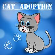 Cat Adoption Showing Feline Adopted And Pets Stock Illustration