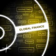 Global Finance Indicating Money Globe And Worldwide Stock Illustration
