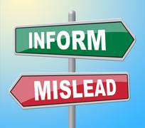 Inform Mislead Representing Deceiving Signboard And Dishonest Stock Illustration