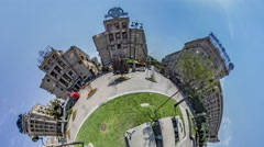 Little Tiny Planet 360 Degree Kiev Sights People on Independence Square in Stock Footage
