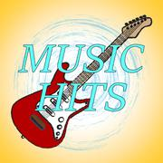 Music Hits Representing Sound Track And Charts Stock Illustration