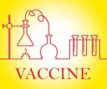 Vaccine Research Representing Medical Instruments And Vaccinated Piirros