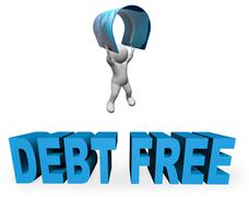 Debt Free Represents Financial Freedom And Banking 3d Rendering Stock Illustration